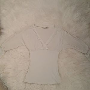 sexy white slimming V neck top size M,new